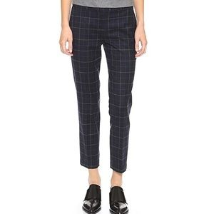 Theory Item Navy Plaid Wool Cropped Pants Size 8